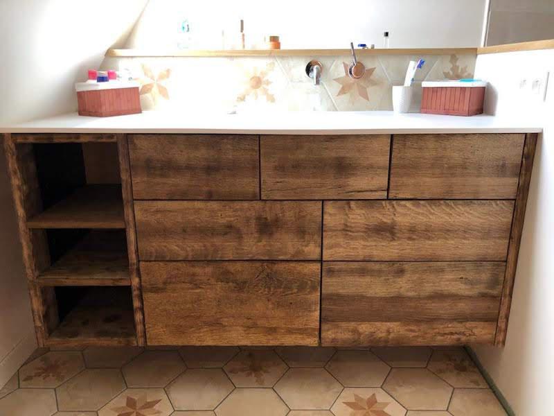 Meuble salle de bain vieux chêne